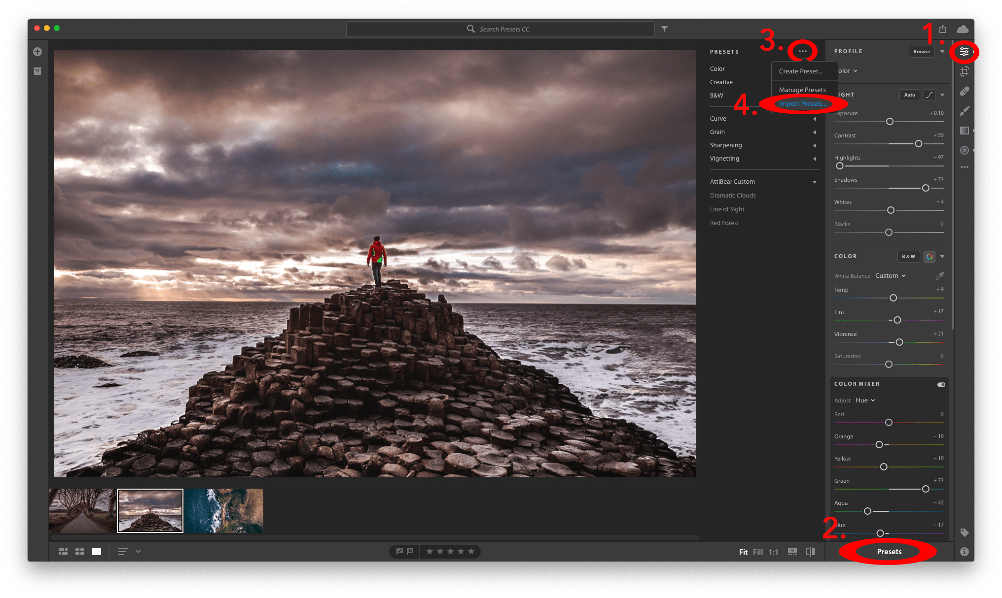 The 4 Clicks you need to make in order to Import Lightroom CC Presets